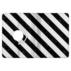 Stripes3 Black Marble & White Linen Kindle Fire Hdx Flip 360 Case by trendistuff
