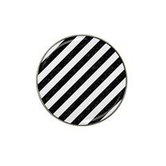 Stripes3 Black Marble & White Linen (r) Hat Clip Ball Marker (4 Pack) by trendistuff