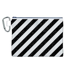 Stripes3 Black Marble & White Linen (r) Canvas Cosmetic Bag (l)