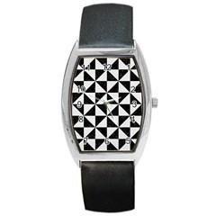 Triangle1 Black Marble & White Linen Barrel Style Metal Watch by trendistuff