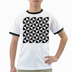 Triangle1 Black Marble & White Linen Ringer T Shirts