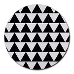 TRIANGLE2 BLACK MARBLE & WHITE LINEN Round Mousepads