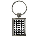 TRIANGLE2 BLACK MARBLE & WHITE LINEN Key Chains (Rectangle)