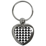 TRIANGLE2 BLACK MARBLE & WHITE LINEN Key Chains (Heart)