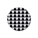 TRIANGLE2 BLACK MARBLE & WHITE LINEN Rubber Round Coaster (4 pack)