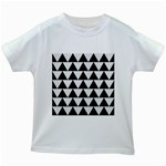 TRIANGLE2 BLACK MARBLE & WHITE LINEN Kids White T-Shirts