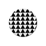 TRIANGLE2 BLACK MARBLE & WHITE LINEN Magnet 3  (Round)