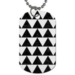 TRIANGLE2 BLACK MARBLE & WHITE LINEN Dog Tag (Two Sides)