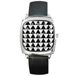 TRIANGLE2 BLACK MARBLE & WHITE LINEN Square Metal Watch