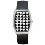 TRIANGLE2 BLACK MARBLE & WHITE LINEN Barrel Style Metal Watch