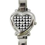 TRIANGLE2 BLACK MARBLE & WHITE LINEN Heart Italian Charm Watch