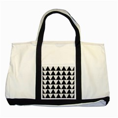 Triangle2 Black Marble & White Linen Two Tone Tote Bag by trendistuff