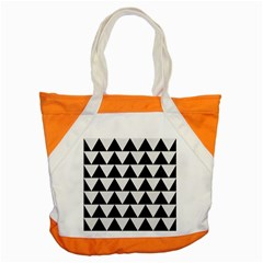 Triangle2 Black Marble & White Linen Accent Tote Bag by trendistuff