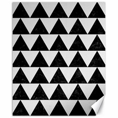 Triangle2 Black Marble & White Linen Canvas 16  X 20   by trendistuff