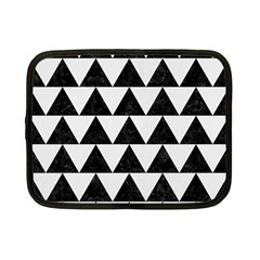 Triangle2 Black Marble & White Linen Netbook Case (small)  by trendistuff