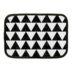 Triangle2 Black Marble & White Linen Netbook Case (medium)  by trendistuff