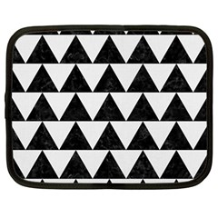 Triangle2 Black Marble & White Linen Netbook Case (large) by trendistuff