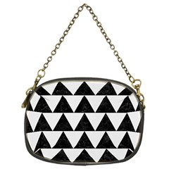 Triangle2 Black Marble & White Linen Chain Purses (two Sides)  by trendistuff