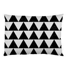 Triangle2 Black Marble & White Linen Pillow Case by trendistuff