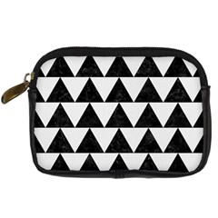 Triangle2 Black Marble & White Linen Digital Camera Cases by trendistuff