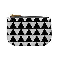 Triangle2 Black Marble & White Linen Mini Coin Purses by trendistuff