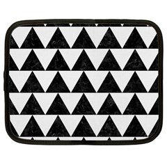 Triangle2 Black Marble & White Linen Netbook Case (xl)  by trendistuff