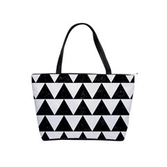 Triangle2 Black Marble & White Linen Shoulder Handbags by trendistuff