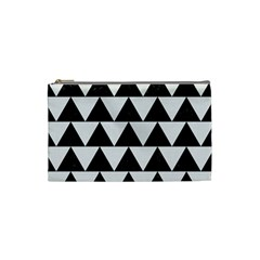 Triangle2 Black Marble & White Linen Cosmetic Bag (small)  by trendistuff