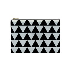 Triangle2 Black Marble & White Linen Cosmetic Bag (medium)  by trendistuff