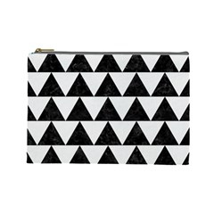 Triangle2 Black Marble & White Linen Cosmetic Bag (large)  by trendistuff