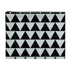 Triangle2 Black Marble & White Linen Cosmetic Bag (xl) by trendistuff