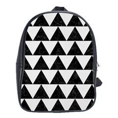 Triangle2 Black Marble & White Linen School Bag (large) by trendistuff