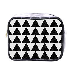 Triangle2 Black Marble & White Linen Mini Toiletries Bags by trendistuff