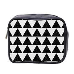Triangle2 Black Marble & White Linen Mini Toiletries Bag 2 Side by trendistuff