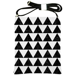 Triangle2 Black Marble & White Linen Shoulder Sling Bags by trendistuff