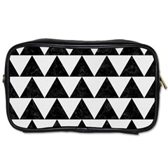 Triangle2 Black Marble & White Linen Toiletries Bags by trendistuff