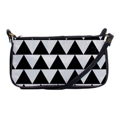 Triangle2 Black Marble & White Linen Shoulder Clutch Bags by trendistuff