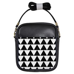 Triangle2 Black Marble & White Linen Girls Sling Bags by trendistuff