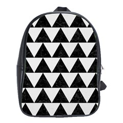 Triangle2 Black Marble & White Linen School Bag (xl) by trendistuff