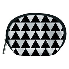 Triangle2 Black Marble & White Linen Accessory Pouches (medium)  by trendistuff