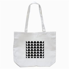 Triangle2 Black Marble & White Linen Tote Bag (white) by trendistuff