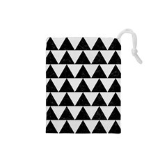 Triangle2 Black Marble & White Linen Drawstring Pouches (small)  by trendistuff