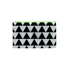 Triangle2 Black Marble & White Linen Cosmetic Bag (xs) by trendistuff