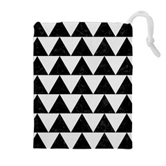 Triangle2 Black Marble & White Linen Drawstring Pouches (extra Large) by trendistuff