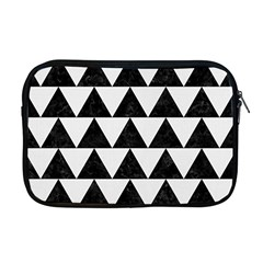 Triangle2 Black Marble & White Linen Apple Macbook Pro 17  Zipper Case by trendistuff