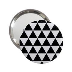 Triangle3 Black Marble & White Linen 2 25  Handbag Mirrors by trendistuff