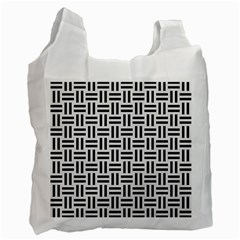 Woven1 Black Marble & White Linen Recycle Bag (two Side)  by trendistuff