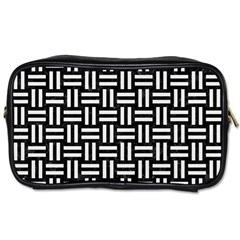 Woven1 Black Marble & White Linen (r) Toiletries Bags 2 Side by trendistuff