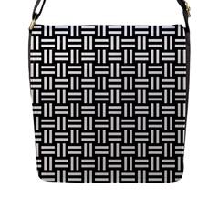 Woven1 Black Marble & White Linen (r) Flap Messenger Bag (l)  by trendistuff