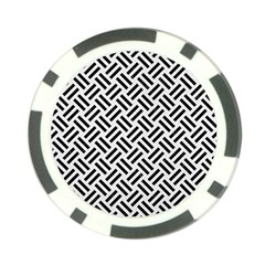 Woven2 Black Marble & White Linen Poker Chip Card Guard by trendistuff